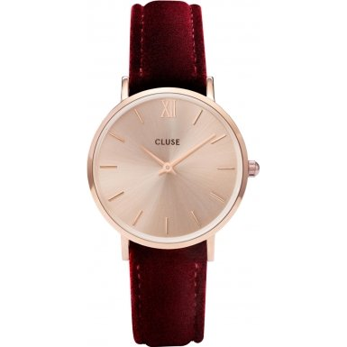 CLUSE Minuit Rose Gold Red Velvet CL30042 Armbanduhr