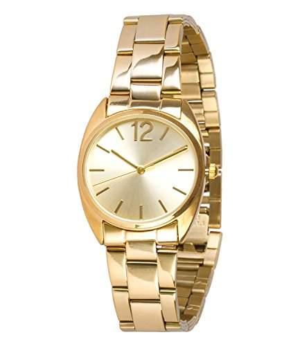SIX klassische goldene Damen Uhr mit schmalem Metall Glieder Armband und dezentem Ziffernblatt 274-296