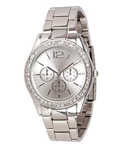 SIX silberne Damen Uhr mit Metall Glieder Armband mit funkelnden Strasssteinen rund um das Ziffernblatt Chronograph-Optik 274-303