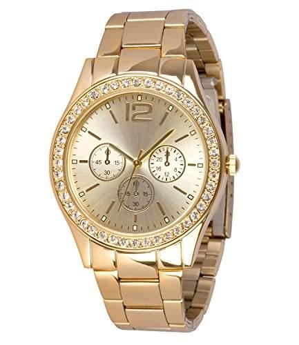 SIX goldene Damen Uhr mit Metall Glieder Armband mit funkelnden Strasssteinen rund um das Ziffernblatt Chronograph-Optik 274-304