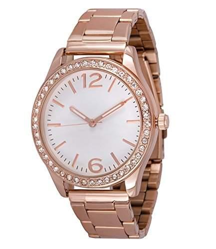 SIX SALE rosegoldene Damen Uhr mit Metall Glieder Armband und funkelnden Strasssteinen rund um das Ziffernblatt Chronograph-Optik 274-311