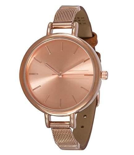 SIX besondere rosegoldene Damen Uhr mit zweigeteiltem schmalen Armband aus braunem Kunstleder mit rosé-goldenen Metall 274-316