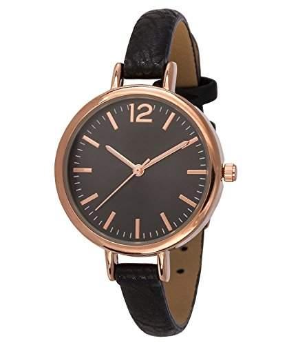 SIX schwarze Damen Uhr mit dunklem Ziffernblatt und rosegoldenen Details schmales Kunstleder Armband 274-317