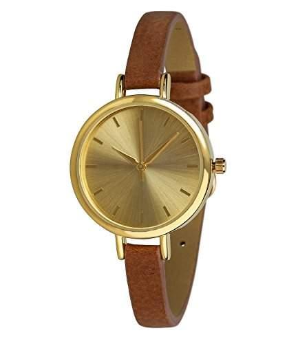 "SIX ""Geschenk"" klassische Damen Armbanduhr mit grossem goldfarbenen Gehaeuse schmalem braunem Armband 274-318"