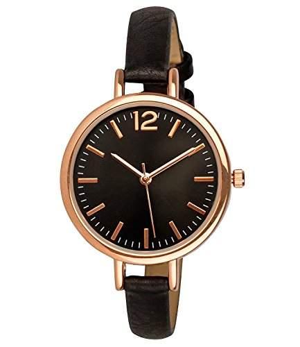 SIX Geschenk schwarze Damen Uhr mit dunklem Ziffernblatt und rosegoldenen Details schmales Kunstleder Armband in Geschenkbox 274-337
