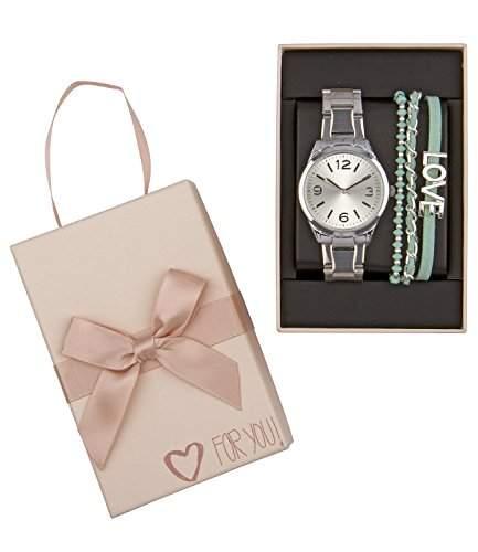 SIX Geschenk Set aus silberner Damen Uhr Gliederarmband Chronograph mintgruene Armbaender mit LOVE Zeichen in hochwertiger Geschenkbox 388-276