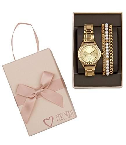 SIX Geschenk Set aus goldener Uhr mit Strass & schmalen Armbaendern, Perle, Box 388-277