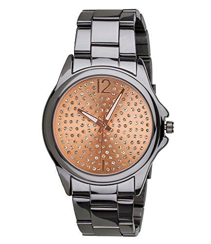 SIX Geschenk Anthrazitfarbene dunkelgraue Damen Design Uhr Gliederarmband Ziffernblatt in Rose mit Strass in hochwertiger Geschenkbox 274 360