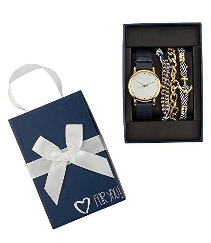 SIX Geschenk Set aus schwarzer und drei Armbaendern maritim gold weiss blau in hochwertiger Geschenkbox mit Herz 388 288