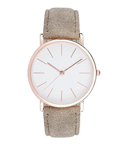 SIX Geschenk Armbanduhr helles Ziffernblatt und goldene Zeiger graues Band Wildleder Optik 274 406