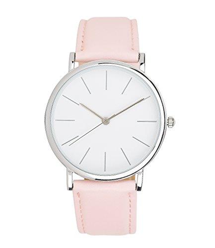 SIX Geschenk hell rosa rose Damen Armband Uhr mit silbernem glaenzendem Gehaeuse in einer hochwertigen Geschenkbox 274 410