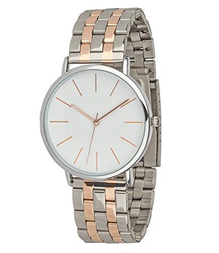 SIX Geschenk elegante moderne silberne Damen Designer Armbanduhr mit Metall Gliederarmband rosegoldene Details in hochwertiger Geschenkbox 274 340