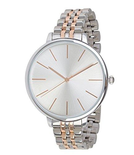 SIX Geschenk elegante moderne silberne Damen Designer Armbanduhr mit Metall Gliederarmband rosegoldene Details in hochwertiger Geschenkbox 274 356