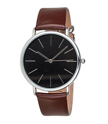 SIX Geschenk unisex Uhr mit braunem Leder Armband schwarzem Zifferblatt mit silbernen Details in hochwertiger schwarzer Geschenkbox 274 355
