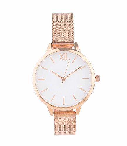 SIX Geschenk Damen Armband Uhr in rose gold mit schmalem elegantem Metallarmband und weissem Ziffernblatt in schoener Geschenkbox 274 381