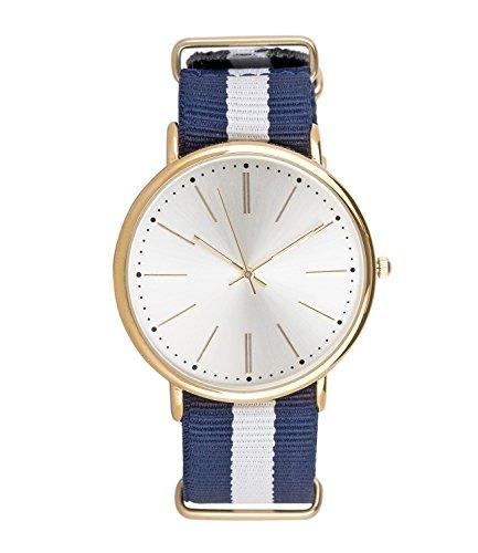 SIX Geschenk Damen Armband Uhr glaenzendes goldenes Gehaeuse mit schimmerndem Zifferblatt blau weiss gestreiftes Textil Band Marine 274 390