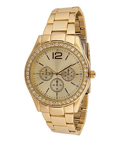 SIX Geschenk goldene mit Metall Glieder Armband funkelnde Strasssteine Chronograph Optik in hochwertiger Geschenkbox 274 346