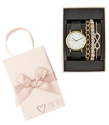 SIX Geschenk Set mit schwarz goldener Lederopik goldene Ambaendern Strass Infinity Unendlichkeit in hochwertiger Geschenkbox 388 287