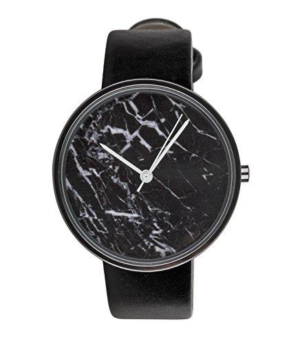 SIX Geschenk edle schwarze Damen Armband Uhr Zifferblatt in Marmor Design mit auffaelligen weissen Zeigern schwarzes Kunstlederarmband 274 384