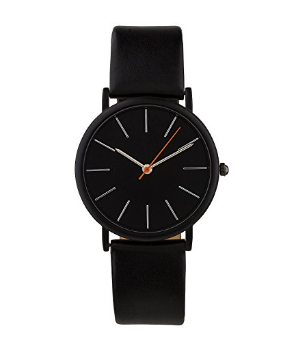 SIX Geschenk Unisex Armband Uhr schlicht und schwarz mit schwarzem Ziffernblatt und orangefarbenen Zeiger mit hochwertiger Geschenkbox 274 374