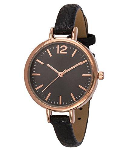 SIX Geschenk schwarze dunkles Ziffernblatt rosegoldenen Details schmales Kunstleder Armband hochwertige Geschenkbox mit Schleife 274 343