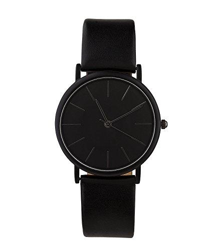 SIX Geschenk Unisex Armband Uhr in mattem schwarz mit schlichtem runden Ziffernblatt und verstellbarem Band in hochwertiger Geschenkbox 274 373