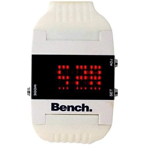 Bench Damen digitale LCD Uhr Zeit & Datum weisses PU-Band