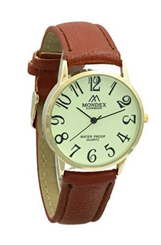 Unisex Vergoldet Mondex  Azaza Pu-Leder-Armband-Uhr Braunes Band Mit Leuchtendes Ziffernblatt