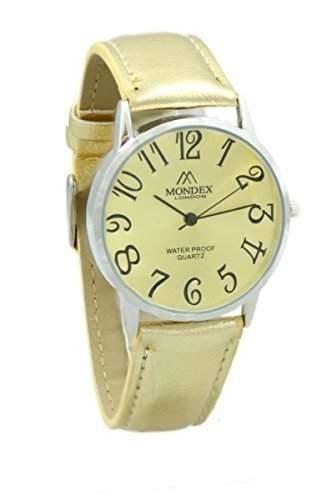Unisex Silber ueberzogene Mondex  Azaza PU Leather Strap Watch Goldene Strap Mit Sahne Dial