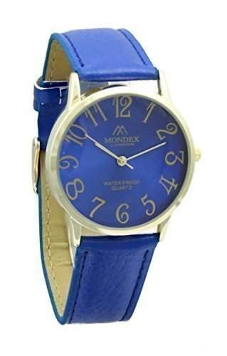 Unisex Vergoldet Mondex  Azaza Pu-Leder-Armband-Uhr Blau Band Mit Ziffernblatt Blau