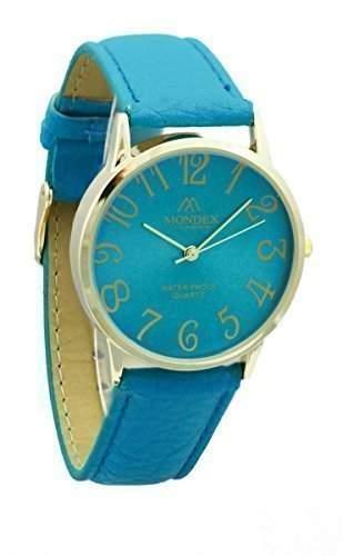 Mondex  Azaza Damen Vergoldet PU Leder Armband Uhr Tuerkis Band Mit Tuerkis Ziffernblatt