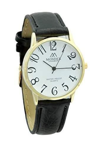 Mondex  Azaza Damen Vergoldet Pu-Leder-Armband- Uhr Schwarzes Band Mit Weissem Ziffernblatt