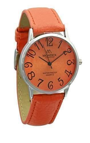 Mondex  Azaza Damen Silber Plattiert PU Leder Armband Uhr Orange Band Mit Orange Ziffernblatt
