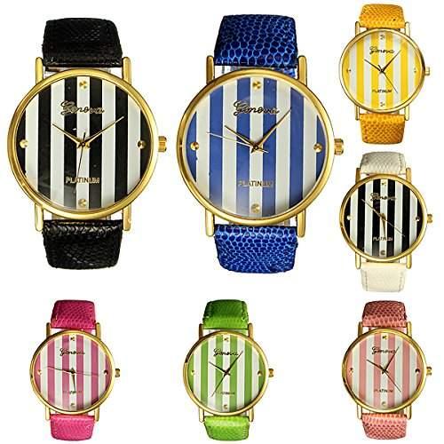 Schwarz Mode Frauen Armbanduhr Streifen Armband Uhr Analog Damenuhr Quarz Uhren Watch
