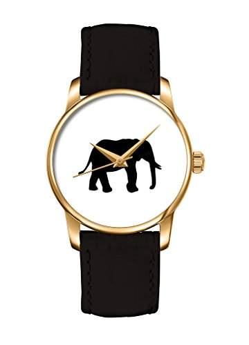 Weiss Elefant golde Zebra Analog Muster Damenuhr Armbanduhr Maedchen Damen Uhr schwarz Leder Armband