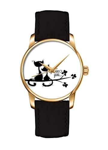 Weiss 2 verliebte Katze fashion Quarz Damenuhr Maedchenuhr Damen Maedchen Uhr mit schwarz Leder Armband