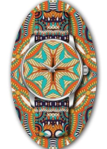 Aztekenmuster Quarz Analog Damenuhr Maedchenuhr Damen Maedchen Uhr Leder Armband