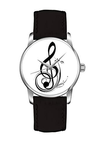weiss Musiknote Elegante Quarz Damenuhr Damen Maedchen Uhr mit schwarz Leder Armband