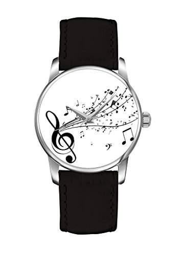 Weiss Melody fashion Quarz Damenuhr Maedchenuhr Damen Maedchen Uhr schwarz Leder Armband