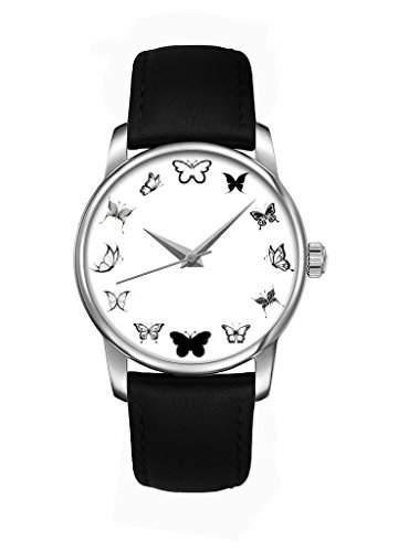 2016 Weiss Schmetterling Quarz Damenuhr Maedchenuhr Damen Maedchen Uhr mit schwarz Leder Armband