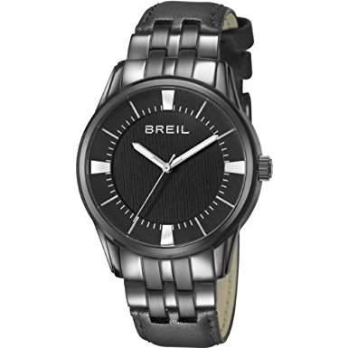 Breil Herren-Quarzuhr mit schwarzem Zifferblatt Analog-Anzeige und schwarz Lederband TW1061