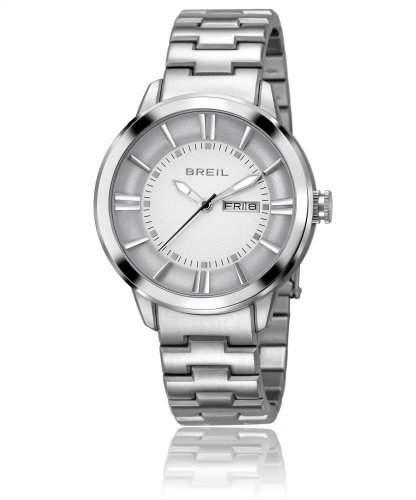 Breil Herren Armbanduhr mit weissem Zifferblatt Analog-Anzeige und Silber Edelstahl Armband TW1167