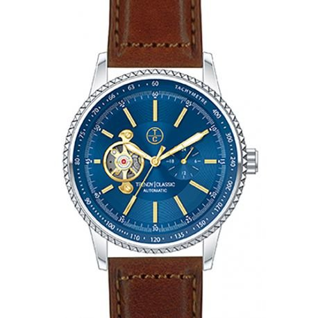 Trendy Classic automatic cb1028 05 montre homme automatique boitier acier cadran Farbe bleu bracelet Leder perforiert braun