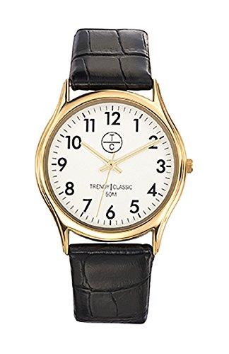Trendy classic cg1010 01 montre homme analogique boitier rund aus Metall dore cadran blanc bracelet Leder schwarz