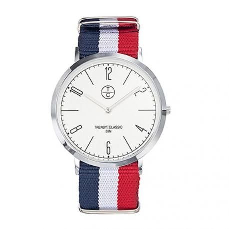 Trendy classic ct025 01 montre homme analogique boitier Metall Farbe acier cadran blanc bracelet NATO blau weiss und rot