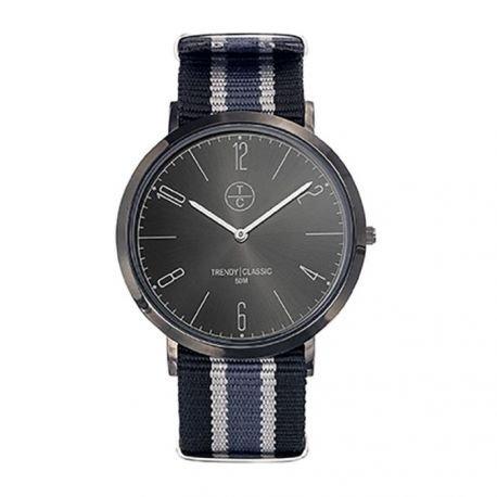 Trendy classic CT025 20 Analoge Armbanduhr fuer Herren Metall Schwarz Grau und Blau