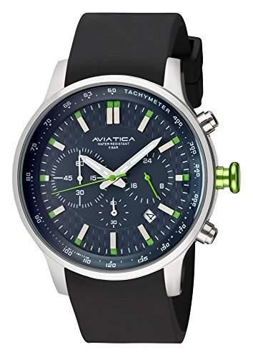 AVIATICA Herren Armbanduhr Chronograph Schwarz mit Gruen 06137004