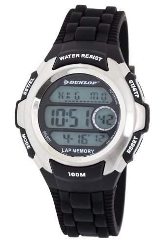 Dunlop Unisex Digital Uhr mit LCD Zifferblatt Digital Display und schwarz Kunststoff oder PU Gurt dun-205-g01