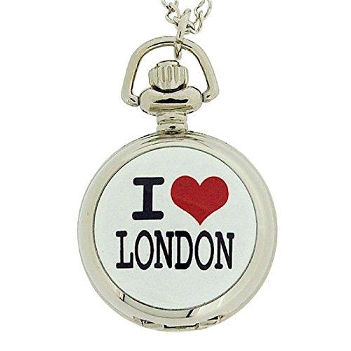 AN London I Love London Damen Anhaengeruhr rosa Zifferblatt 30 cm Kette ANPW01