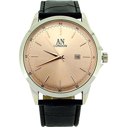 AN London rosevergoldf Herrenuhr Datum Krokolederimitat Uhrband AN1017L